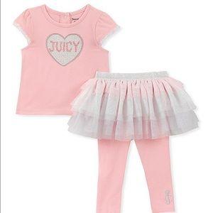 Pink & Silver Juicy Cap-Sleeve Top & TuTu Legging